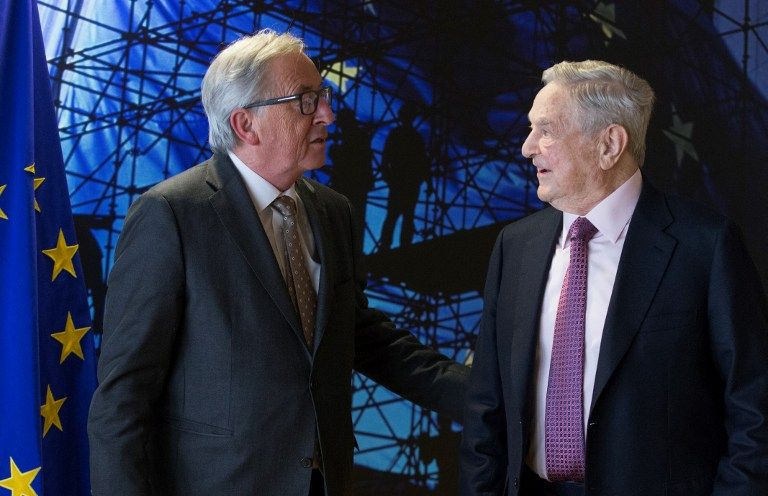 BRUSSELS, BELGIUM - APRIL 27: A billionaire investor George Soros (R) meets with European Union Commission President Jean Claude Juncker (L) in Brussels, Belgium on April 27, 2017.  Olivier Hoslet / EPA / Pool / Anadolu Agency