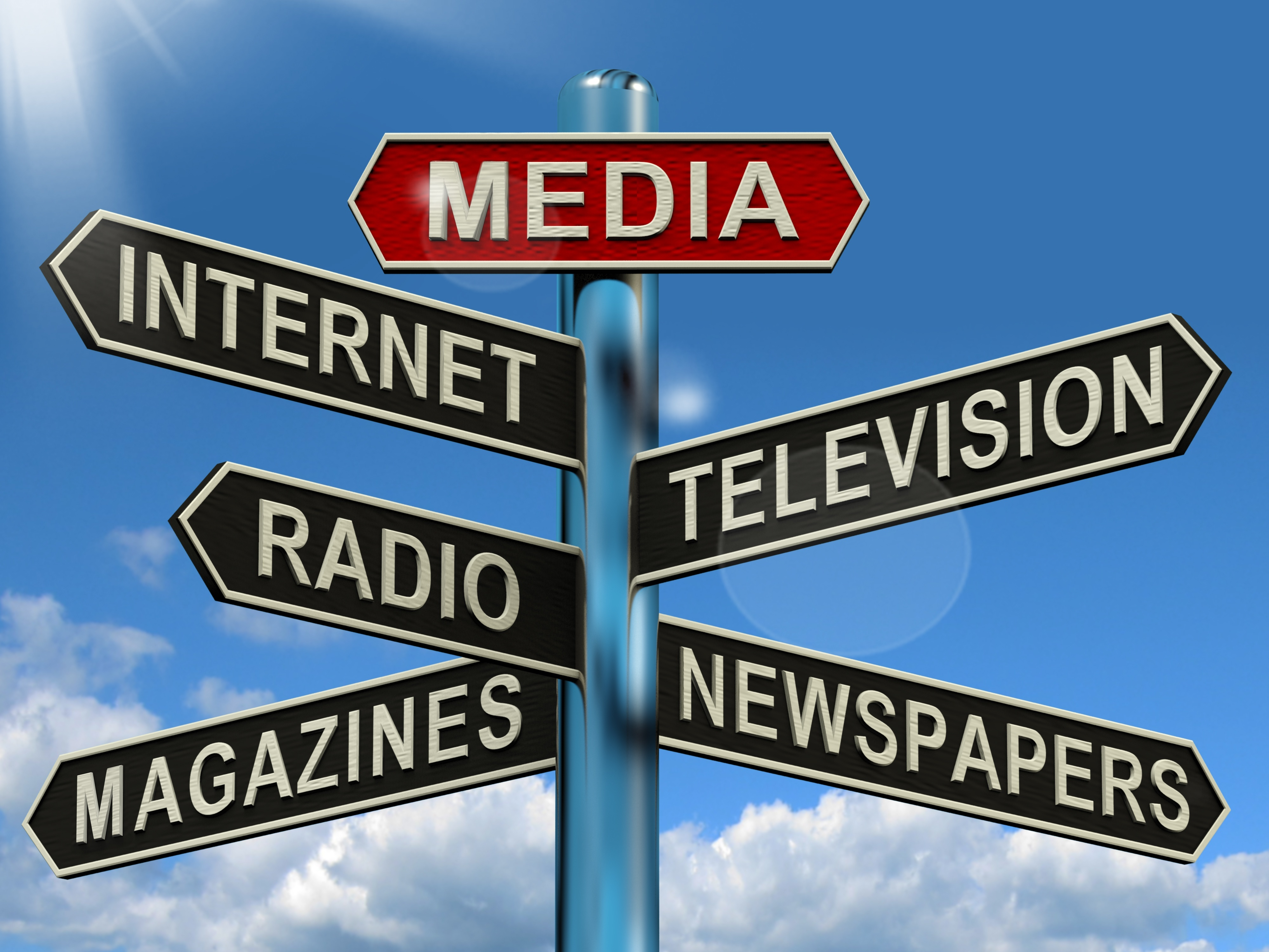 13564620 - media signpost shows internet television newspapers magazines and radio